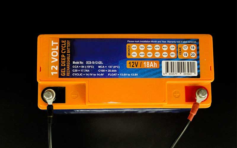 Gel Rechargable Battery Size Label