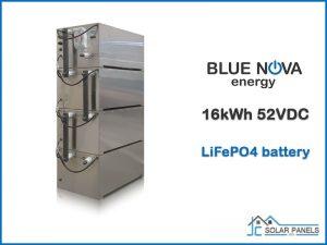 16kWh Blue Nova LiFePO4 battery 52VDC