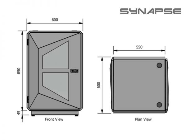 Synapse Rack 12U White Battery Box Dimensions
