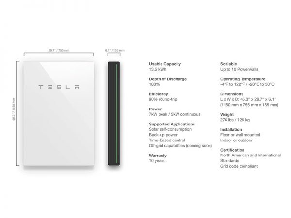 Tesla PowerWall 2 AC Specifications