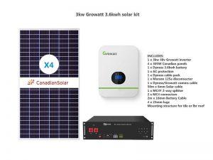 3kw Growatt 3.6kwh solar kit