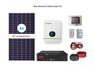 3kw Growatt 3.6kwh solar package