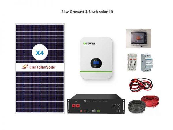 3kw Growatt 3.6kwh solar package