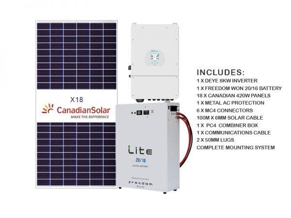 8kw Deye 20kwh Freedom Solar Kit