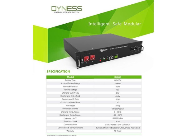 Dyness 2.4KwH 48V Lithium-ion Battery Specifications