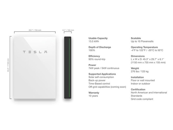 Tesla PowerWall 2 AC Specifications